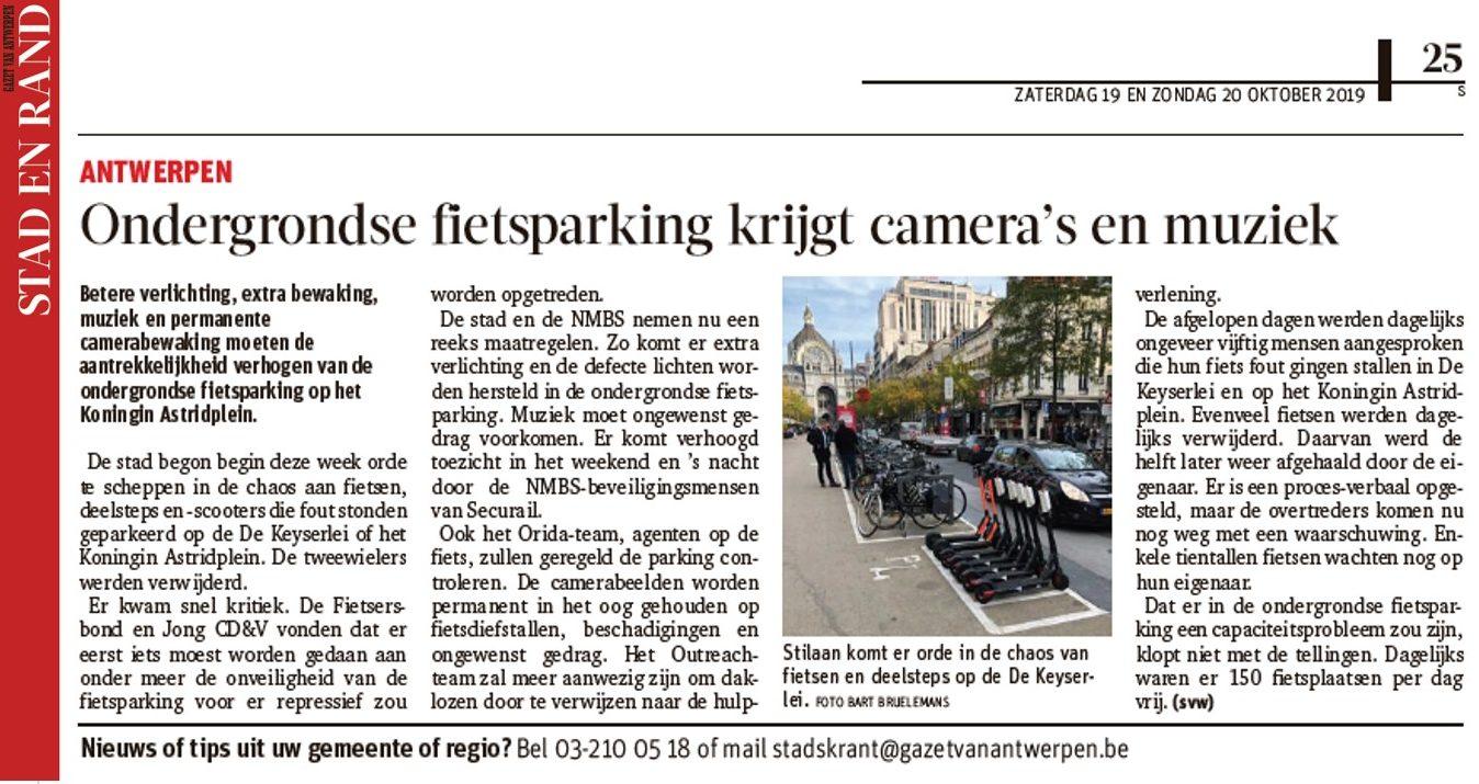 Fietsparking Koningin Astridplein in toekomst permanent bewaakt (GVA)